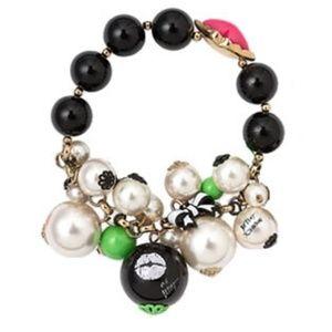 Betsey Johnson First Date Lips Kiss Charm Bracelet